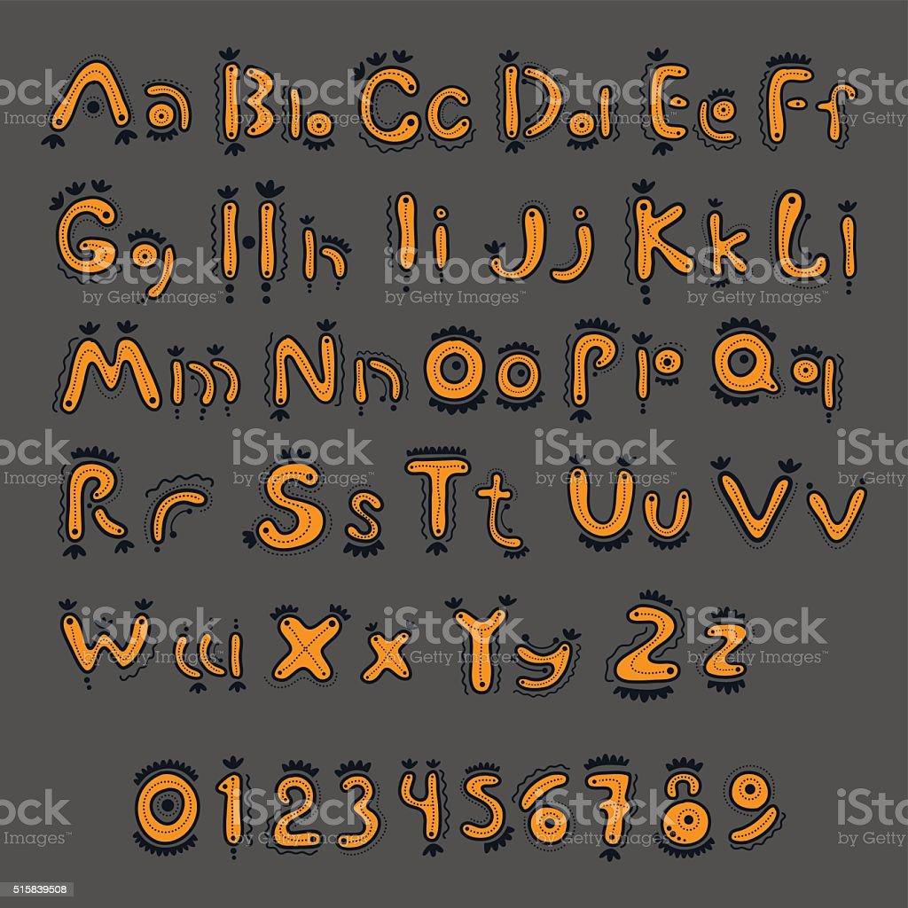 Yellow cartoon alphabet vector art illustration