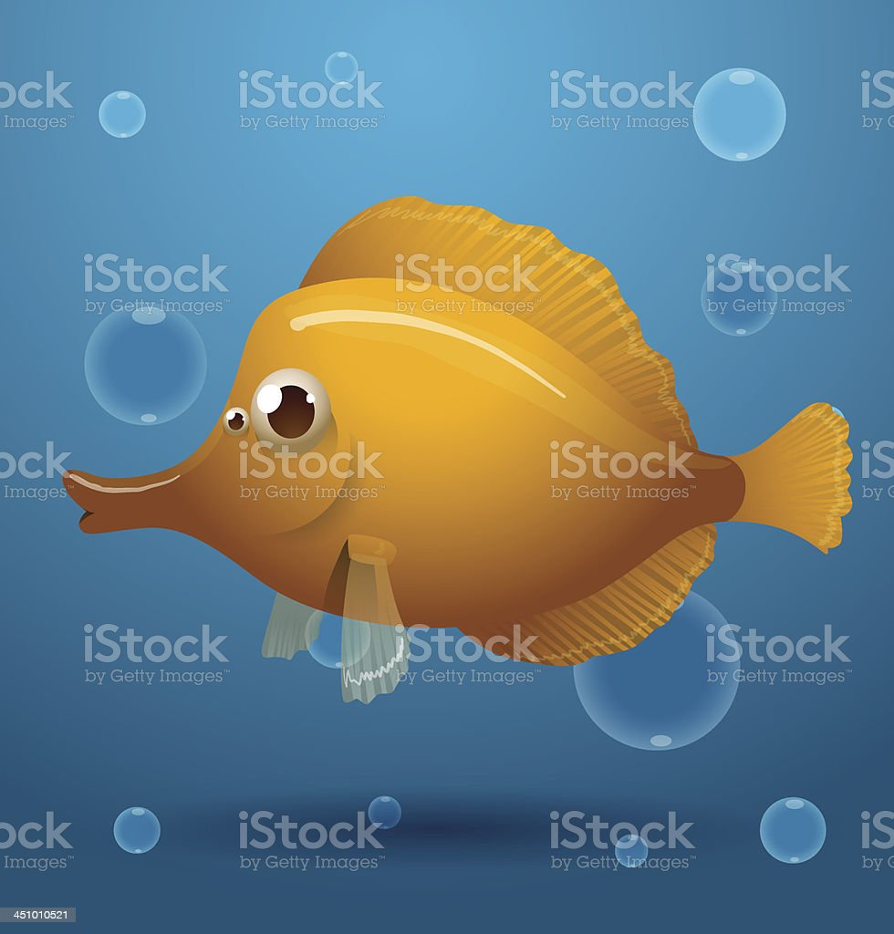 Yellow cartoon tropical fish royalty-free stock vector art