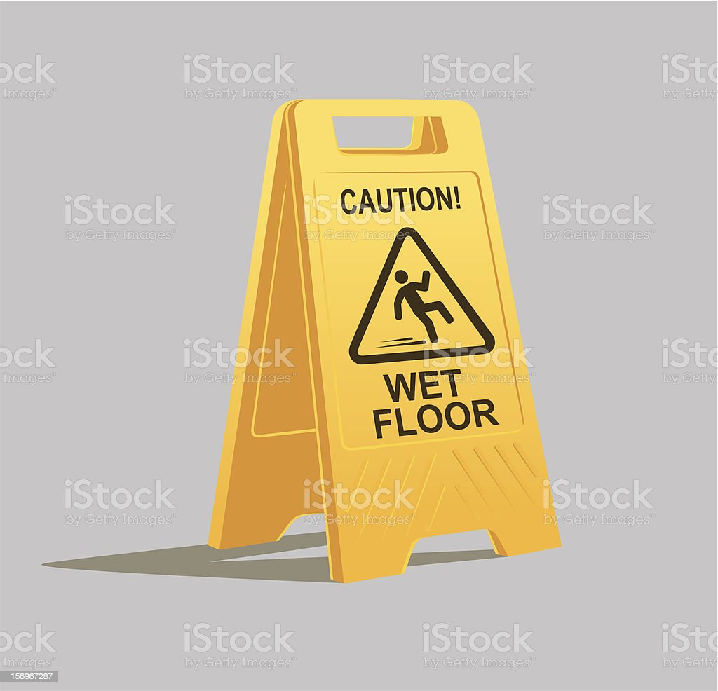 Yellow caution wet floor sign with shadow on grey background vector art illustration