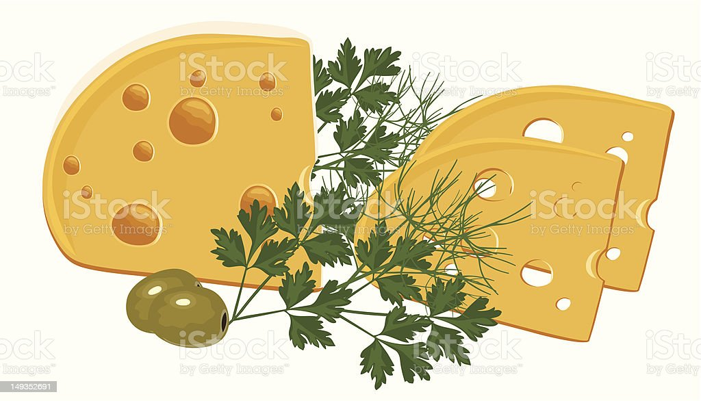 Yellow Cheese with Green and Olives vector art illustration