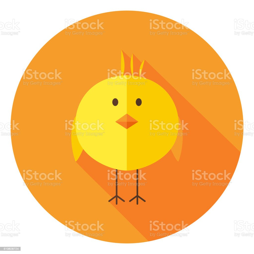 Yellow Chick Circle Icon with long Shadow vector art illustration