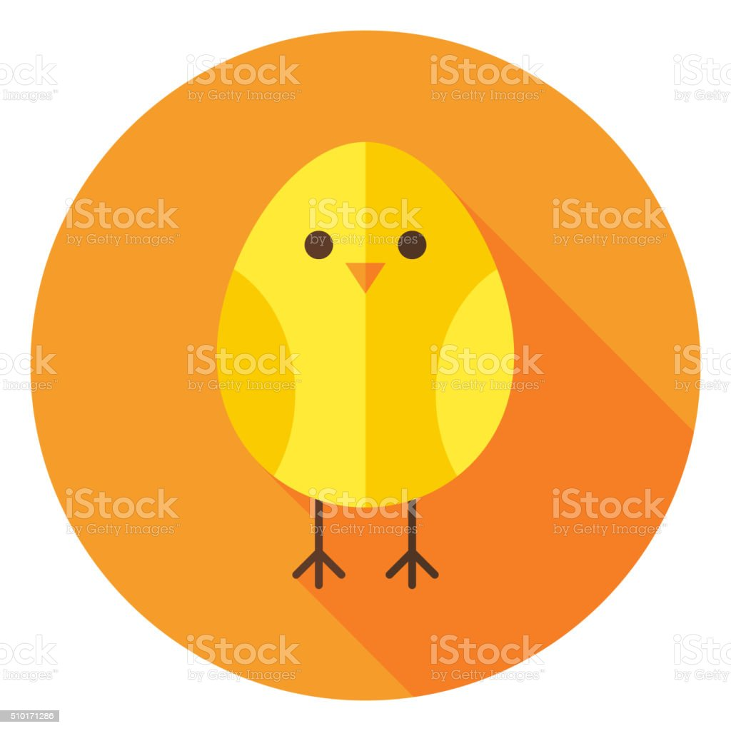 Yellow Chicken Circle Icon with long Shadow vector art illustration