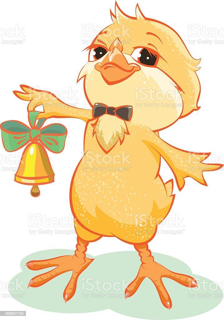 Yellow chicken rings the bell vector art illustration
