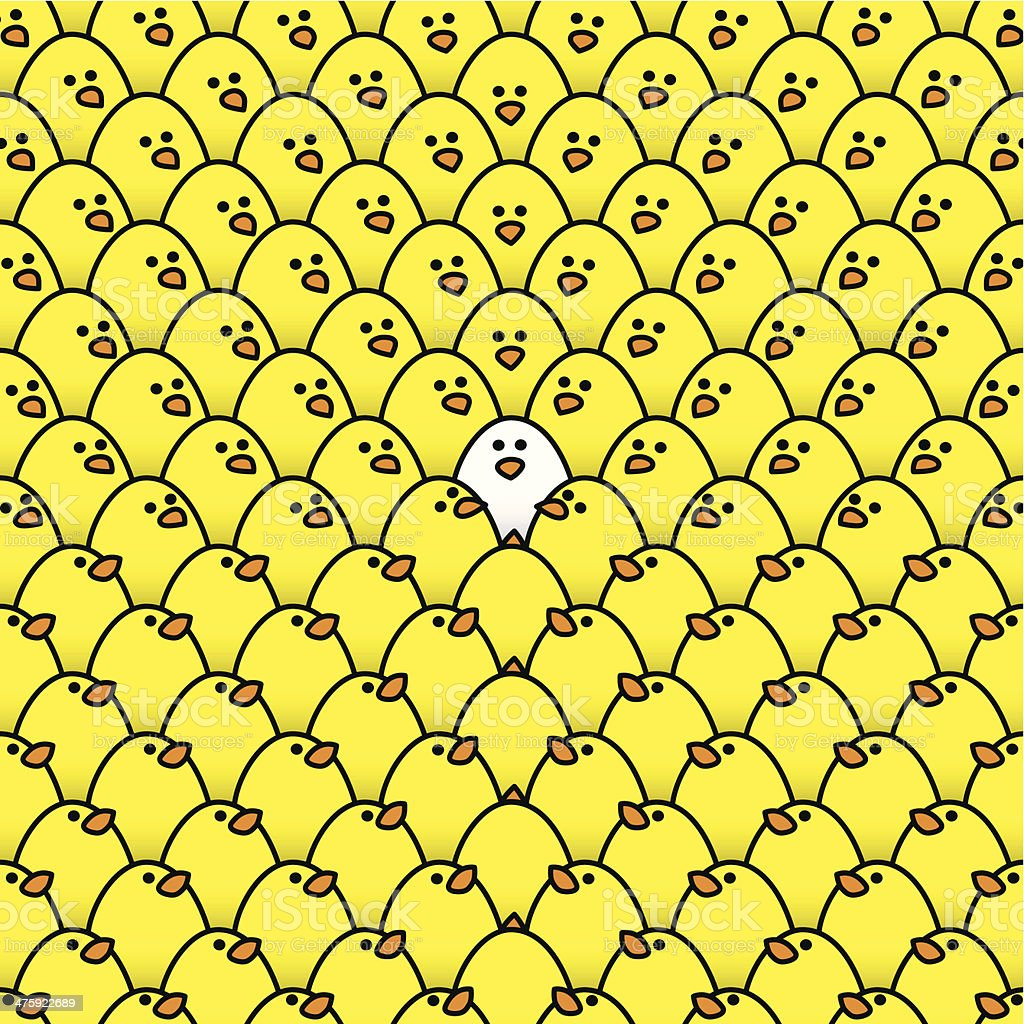 Yellow Chicks Staring at a Single White Chick vector art illustration