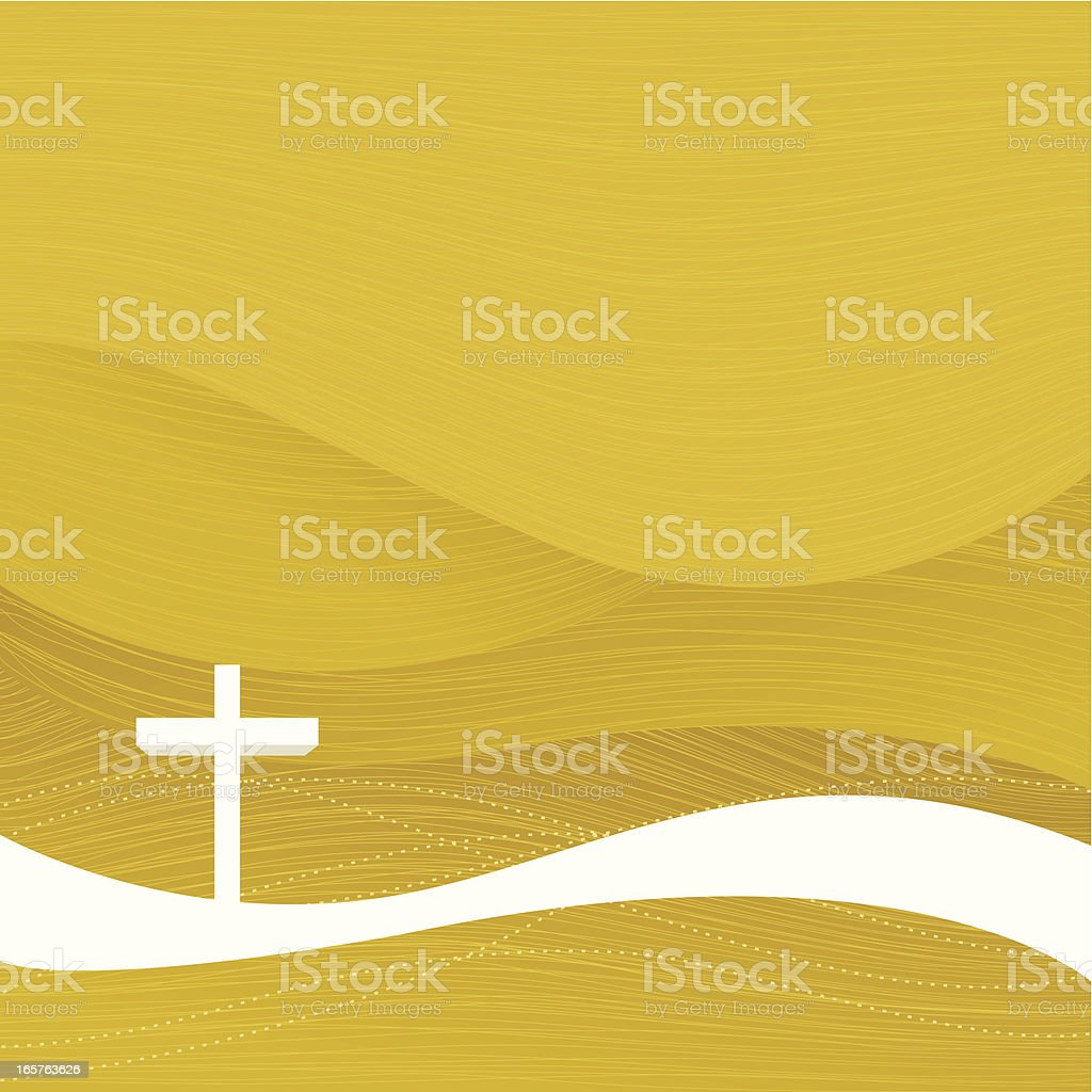 A yellow Christian Easter background vector art illustration