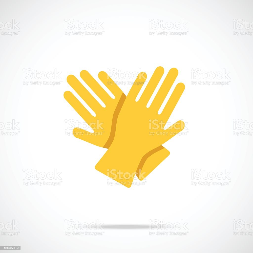 Yellow cleaning gloves flat icon. Vector illustration vector art illustration