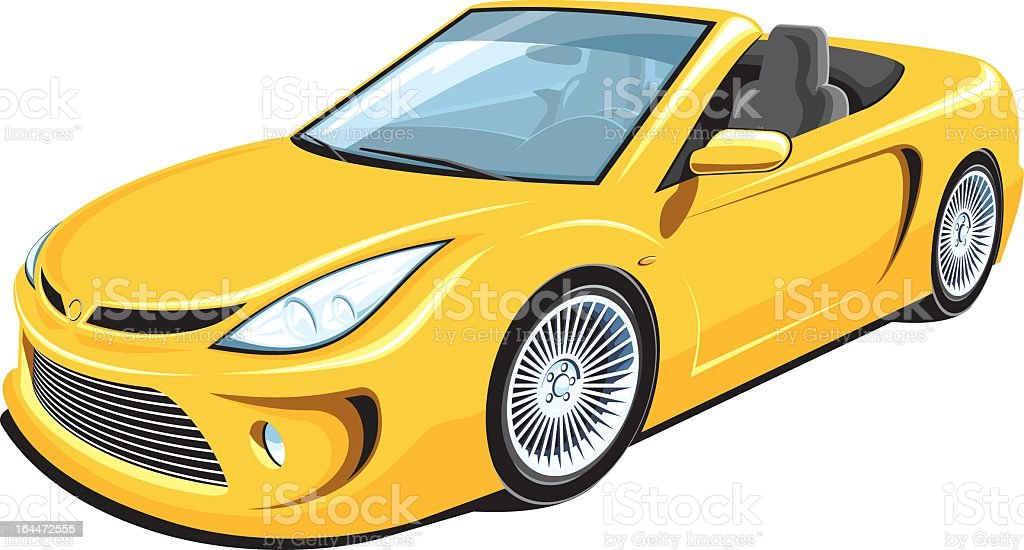 Yellow convertible car with hood down vector art illustration