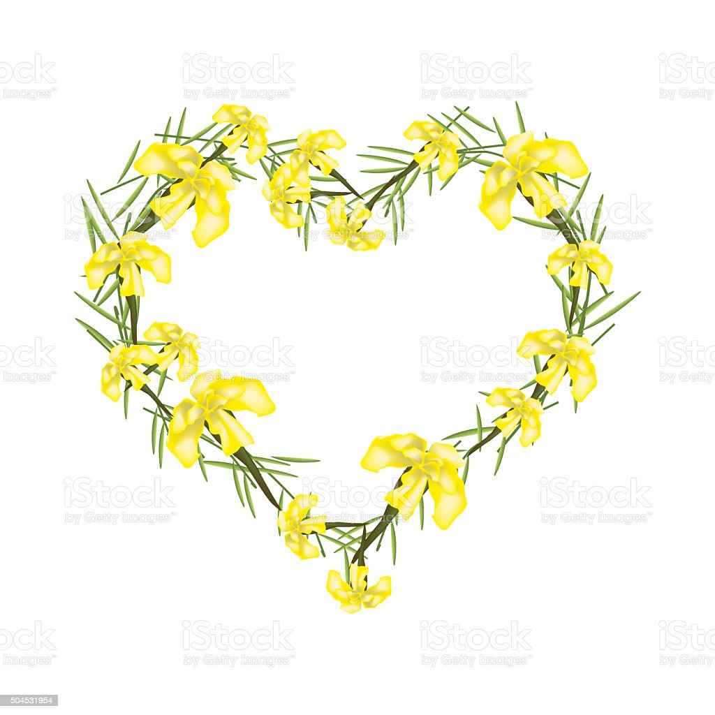 Yellow Crape Myrtle Flowers in A Heart Shape vector art illustration