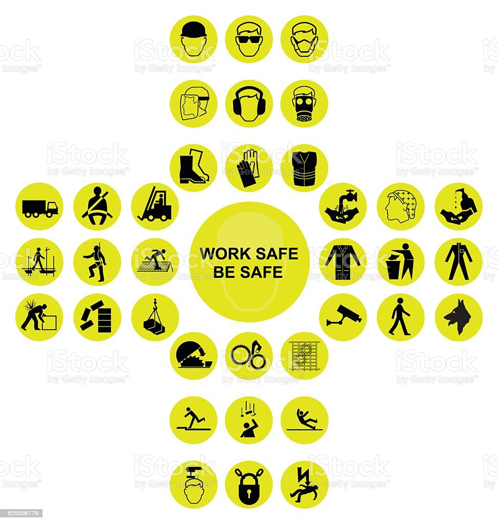 Yellow cruciform health and safety icon collection vector art illustration