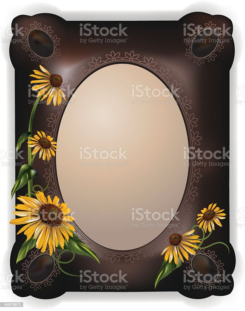 Yellow Daisies on a Black Frame royalty-free stock vector art