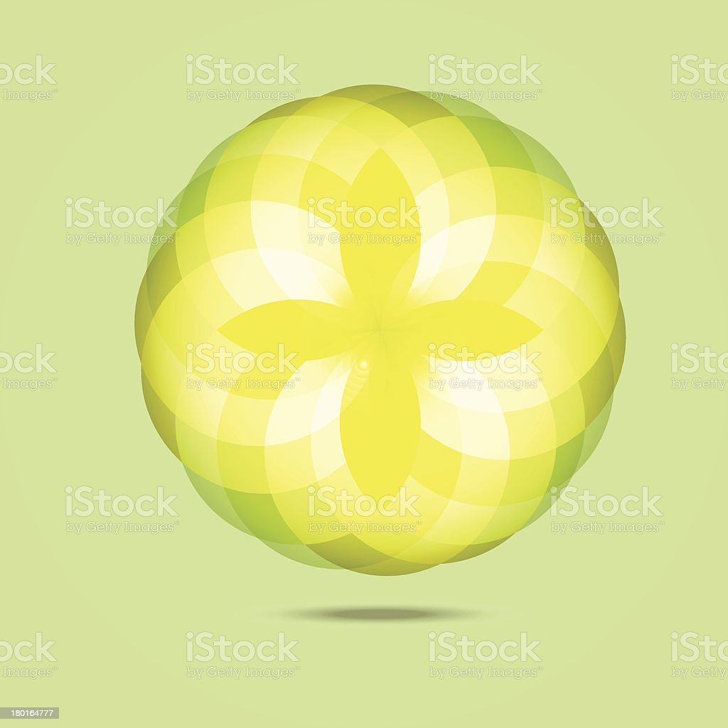 Yellow diamond flower in the air abstract background royalty-free stock vector art