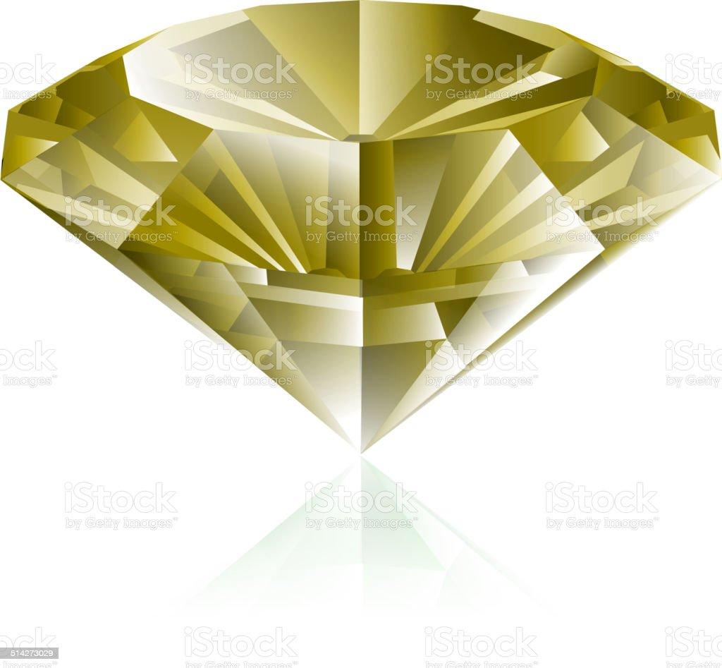Yellow diamond vector art illustration