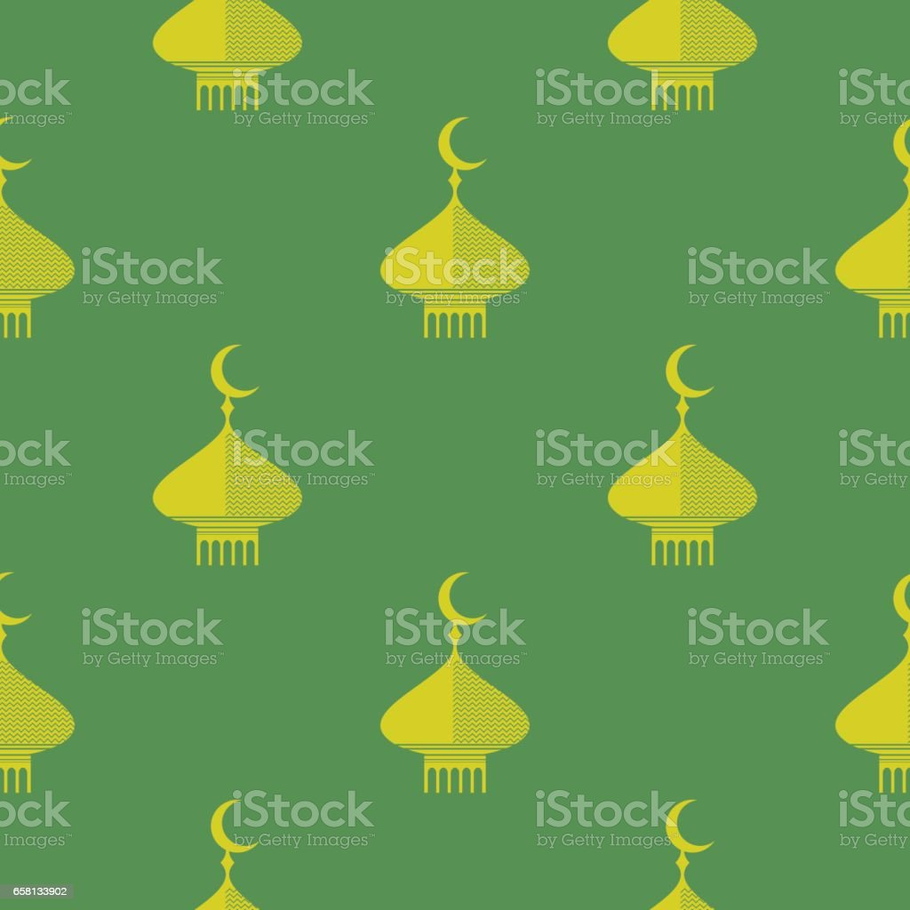 Yellow Dome Icon Seamless Pattern vector art illustration