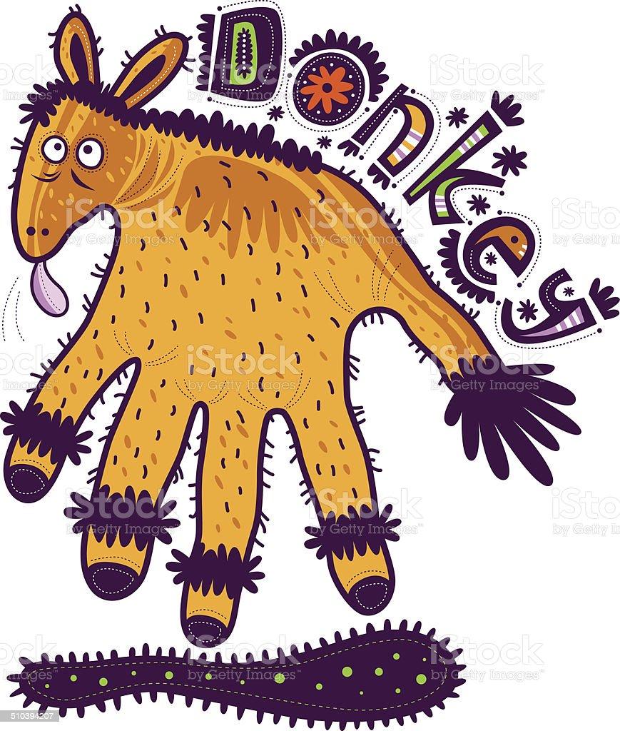 Yellow donkey vector art illustration