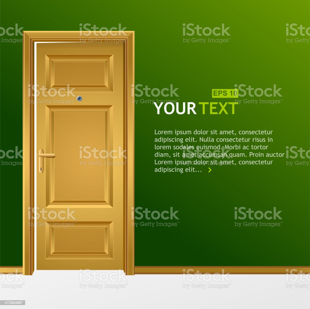 Yellow door in the green wall royalty-free stock vector art