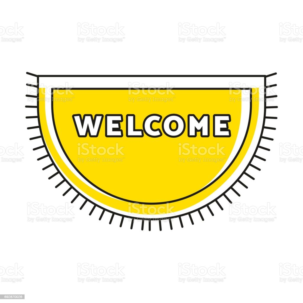 Yellow Doormat With Fringe And Text WELCOME. Cute Home Symbol. Simple  Hipster Design Household