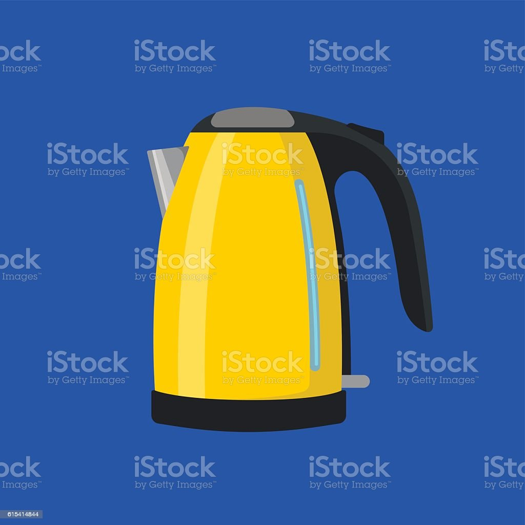 Yellow electric kettle vector art illustration