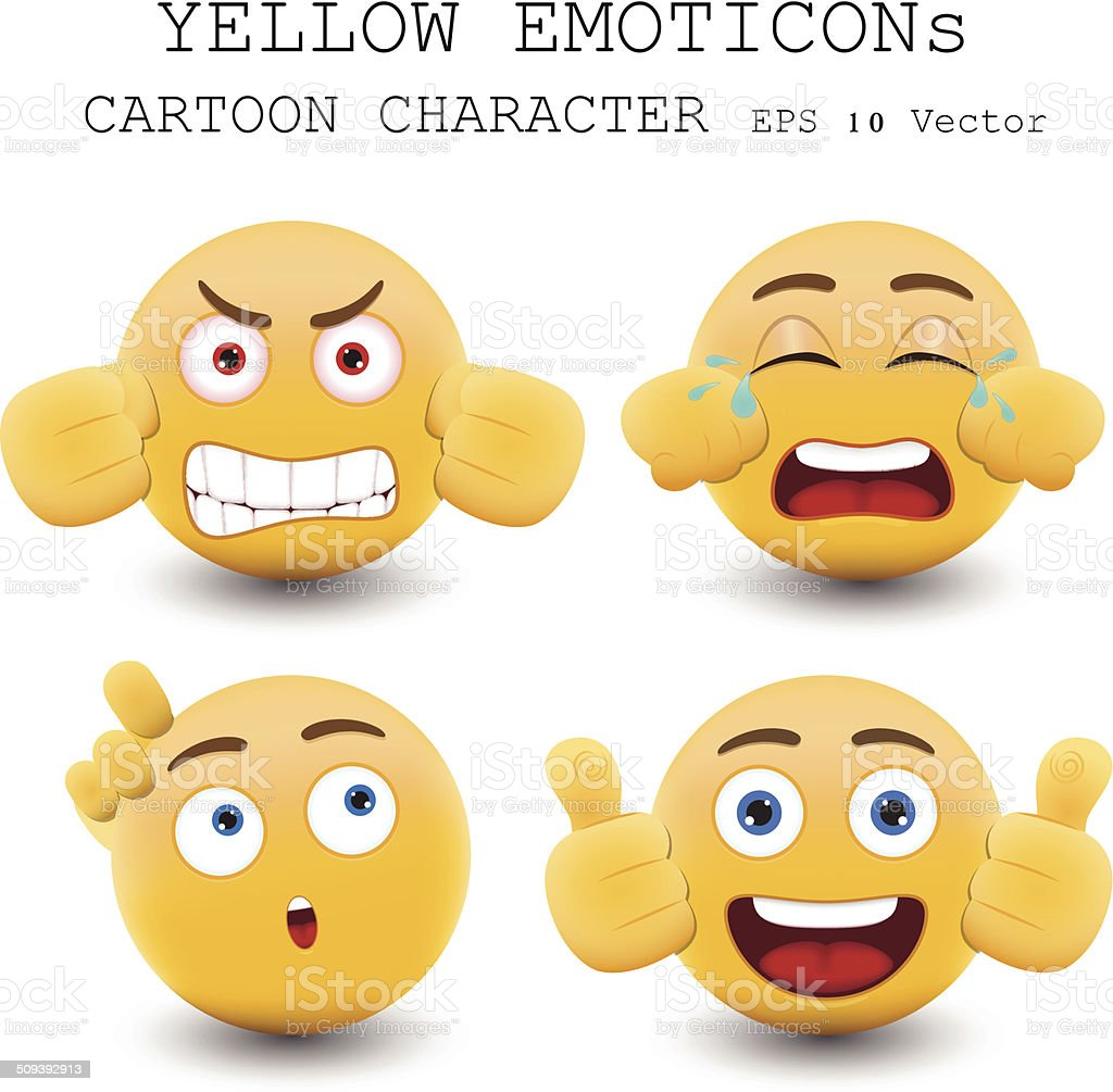 Yellow emoticon cartoon character eps 10 vector vector art illustration
