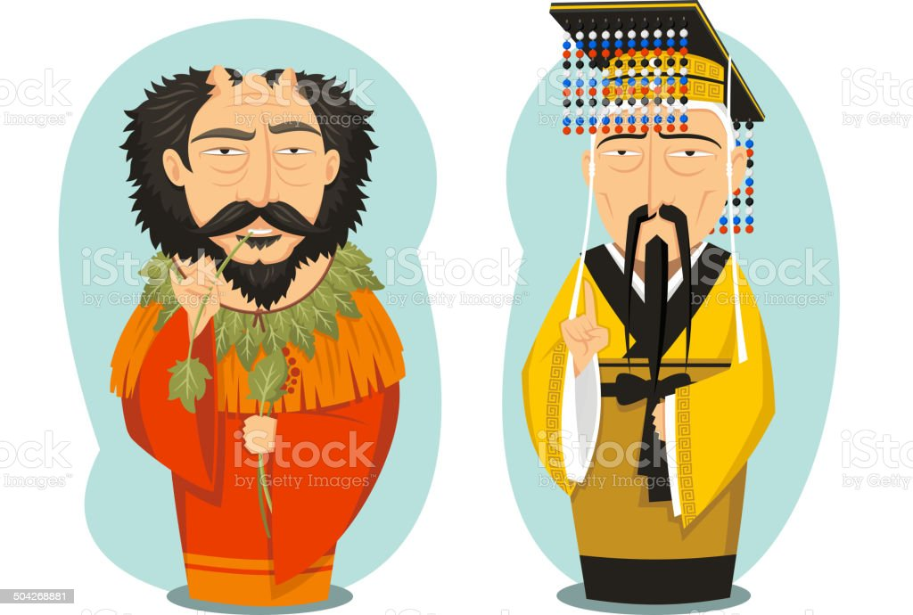 Yellow Emperor and Yandi Chinese Emperors vector art illustration