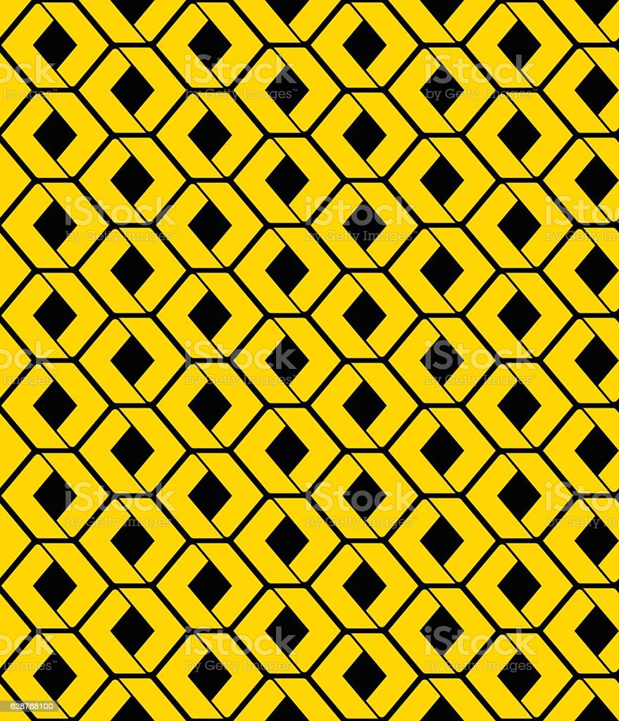 Yellow endless vector texture with green geometric figures vector art illustration