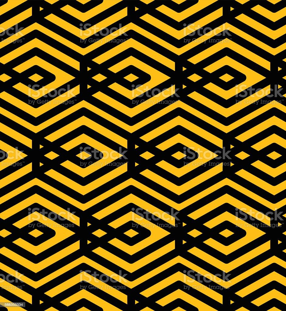 Yellow endless vector texture with parallel black lines, motif vector art illustration