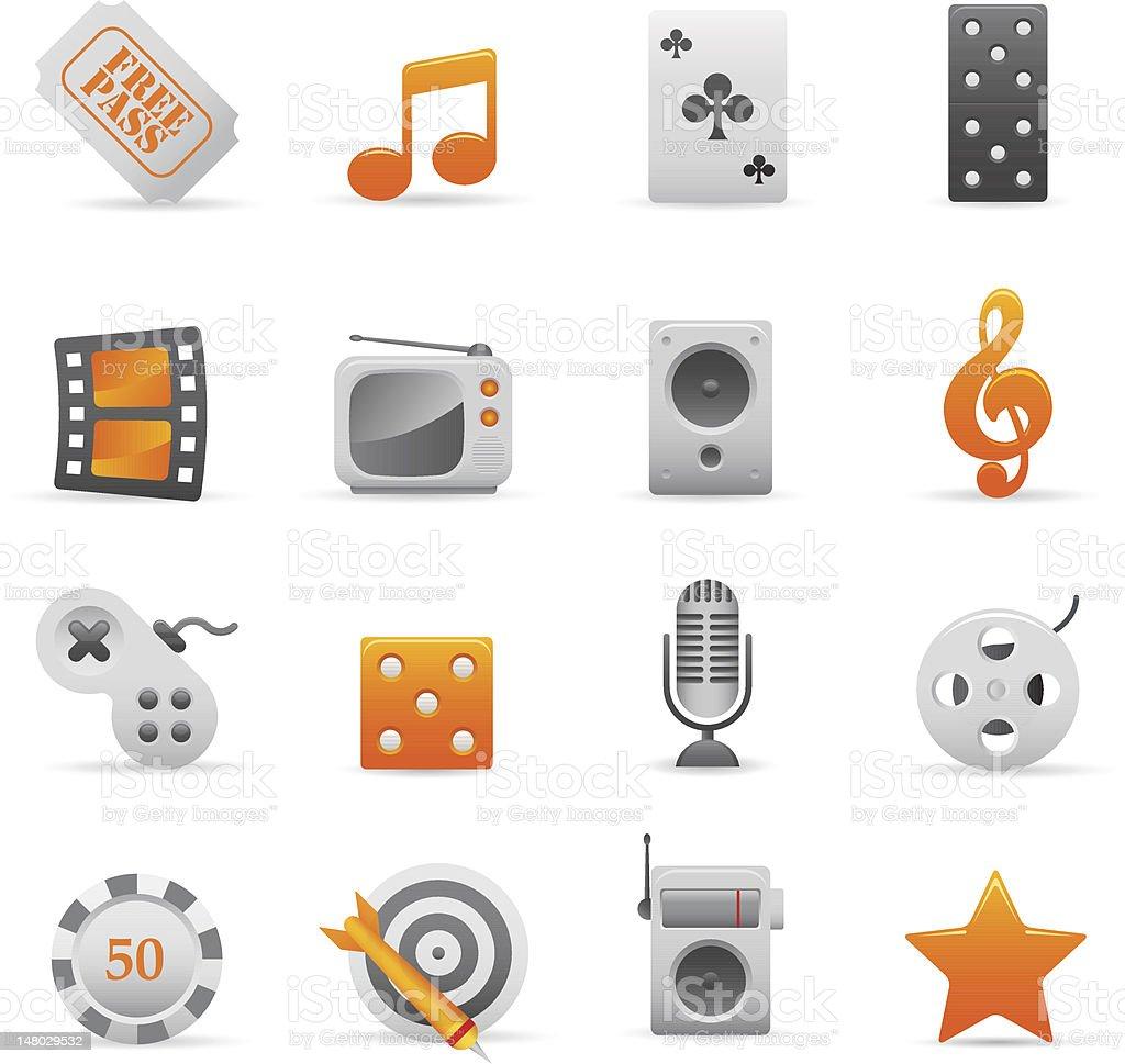 Yellow Entertainment Icons royalty-free stock vector art