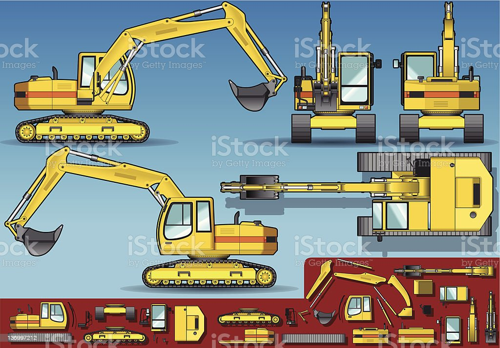 yellow excavator  in five orthogonal position royalty-free stock vector art