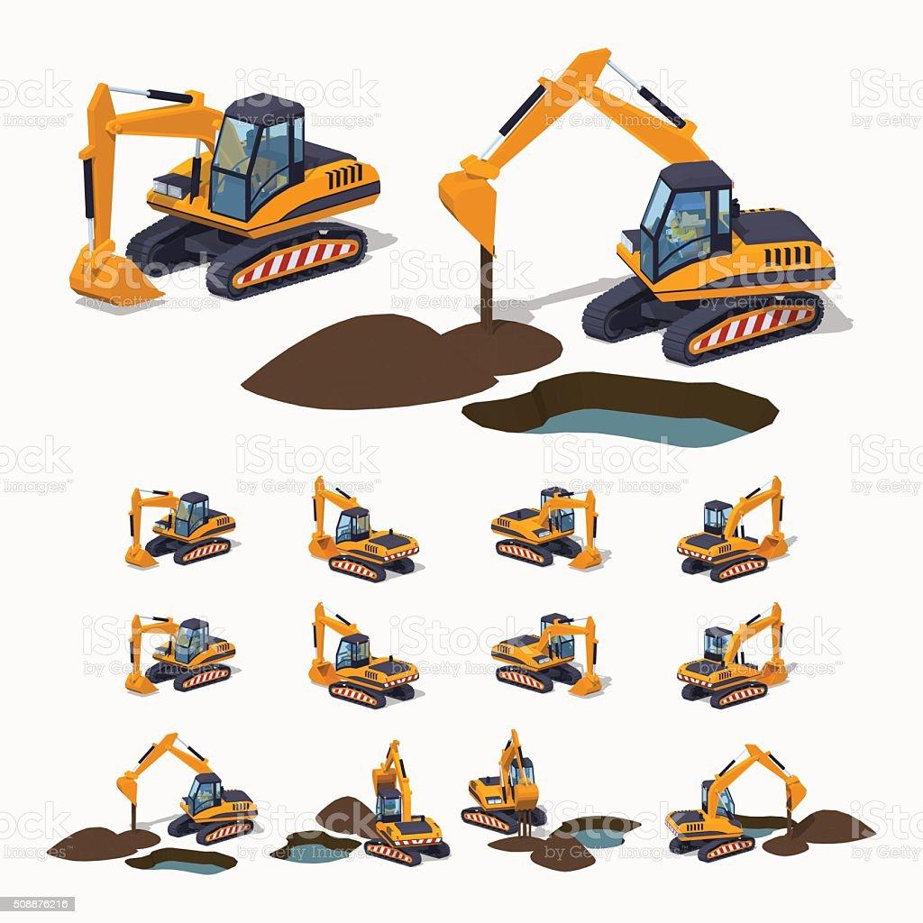 Yellow excavator. Special machinery vector art illustration
