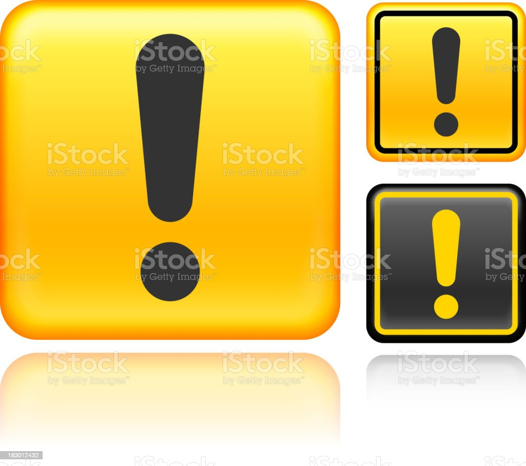 A yellow exclamation point caution sign with two smaller ones to the right side. royalty-free stock vector art