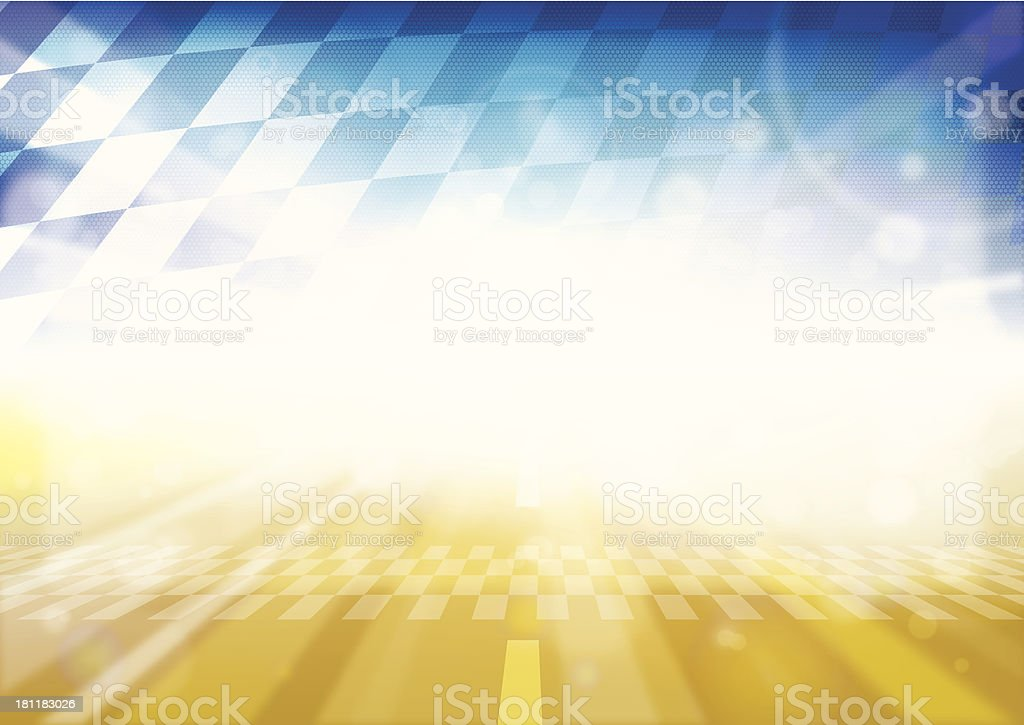 Yellow F1 racetrack and blue checkered flag background vector art illustration