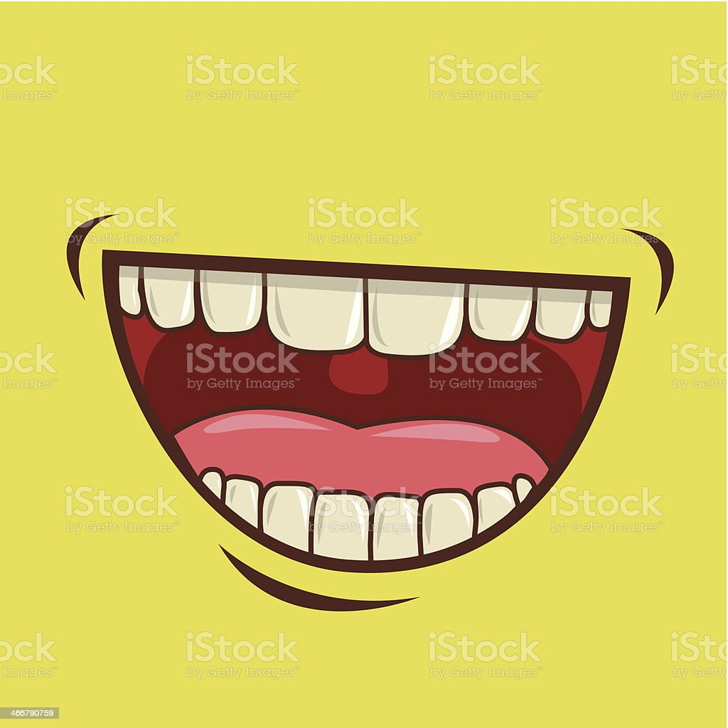 A yellow face smiling and laughing vector art illustration