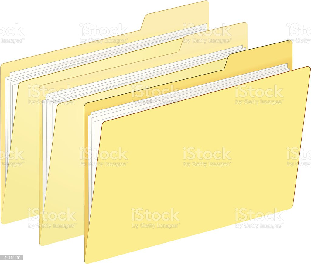 Yellow File Folders with Paper Inside royalty-free stock vector art