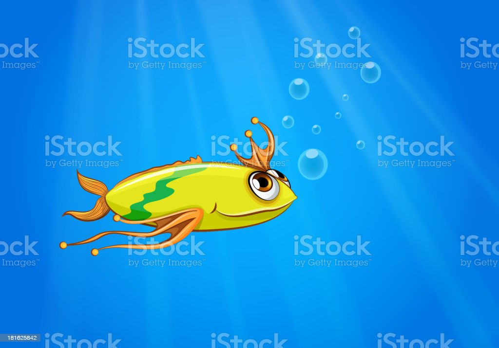 yellow fish swimming under the sea royalty-free stock vector art