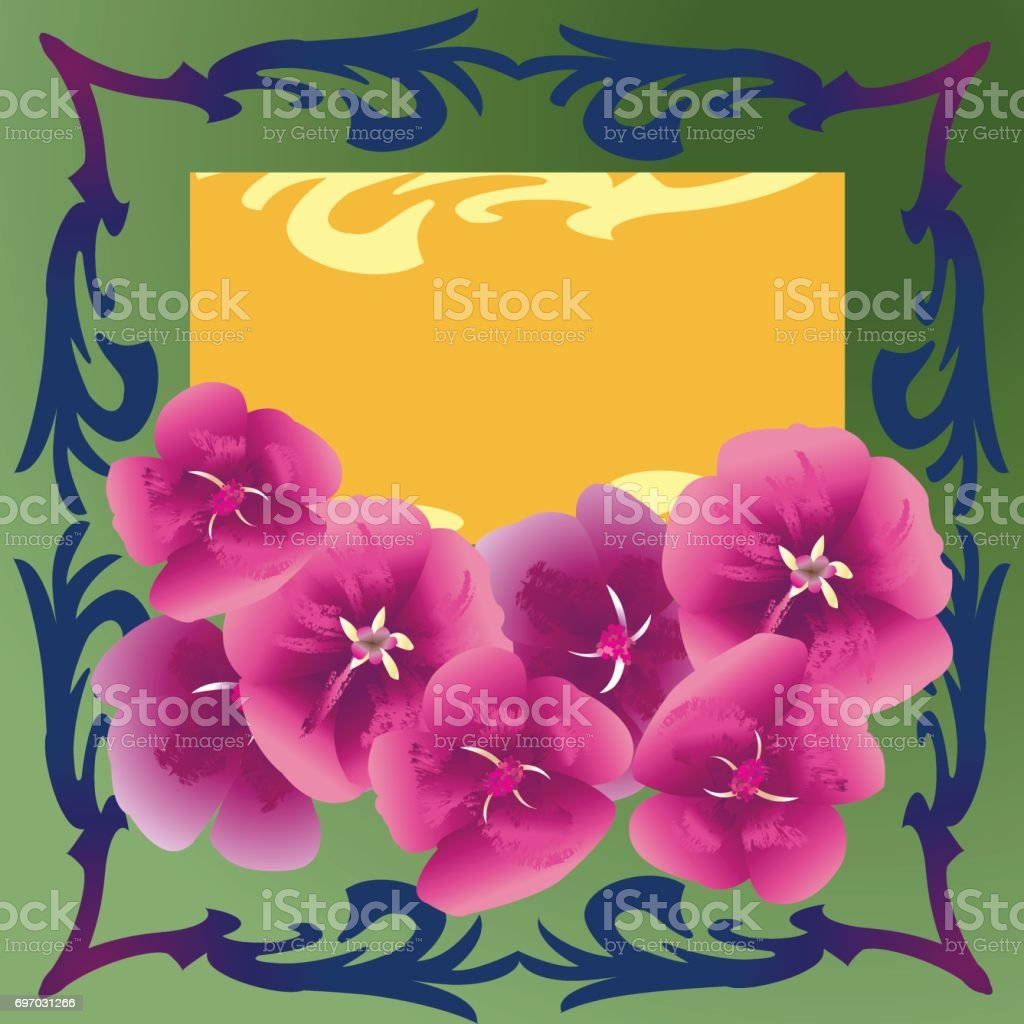 Yellow floral card vector art illustration