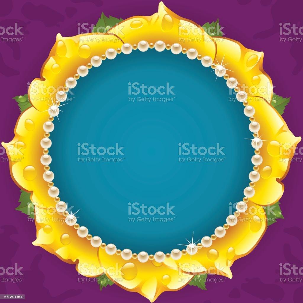 Yellow Floral Circle Frame vector art illustration