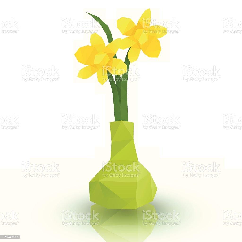 Yellow flower polygonal style royalty-free stock vector art