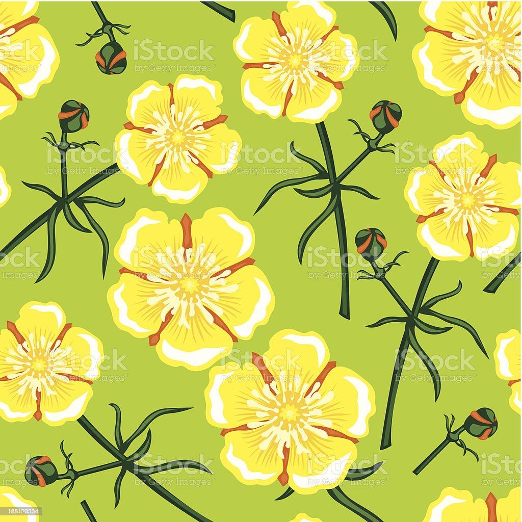 Yellow flower seamless pattern vector art illustration