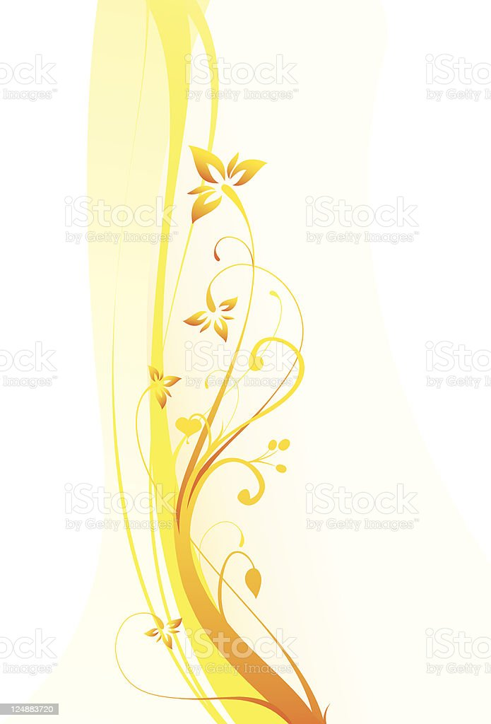 Yellow Flowers Vector Floral Ornament Summer Background royalty-free stock vector art