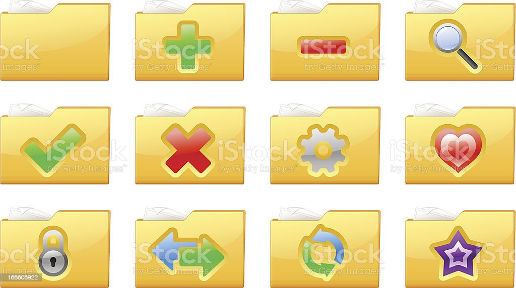 Yellow folder management and administration icons royalty-free stock vector art