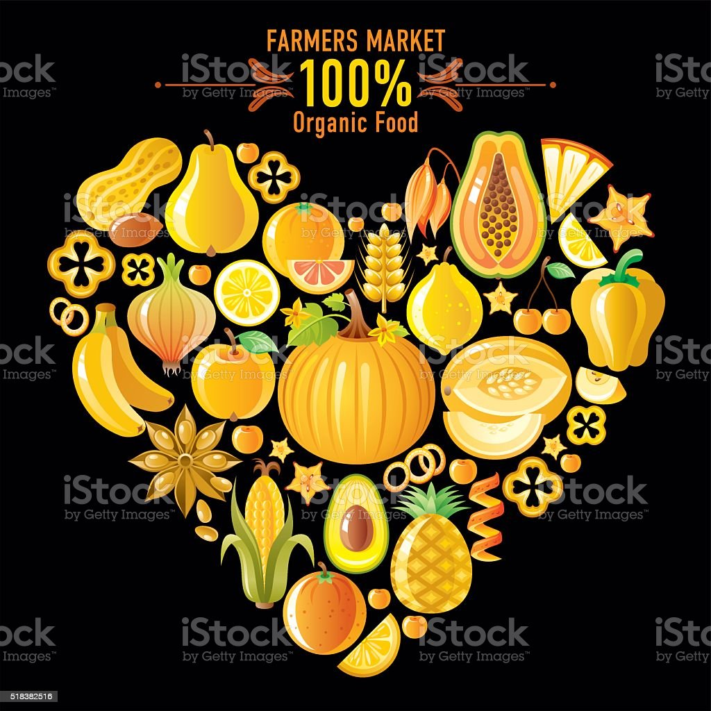 Yellow fruits and vegetables heart shape on black background vector art illustration