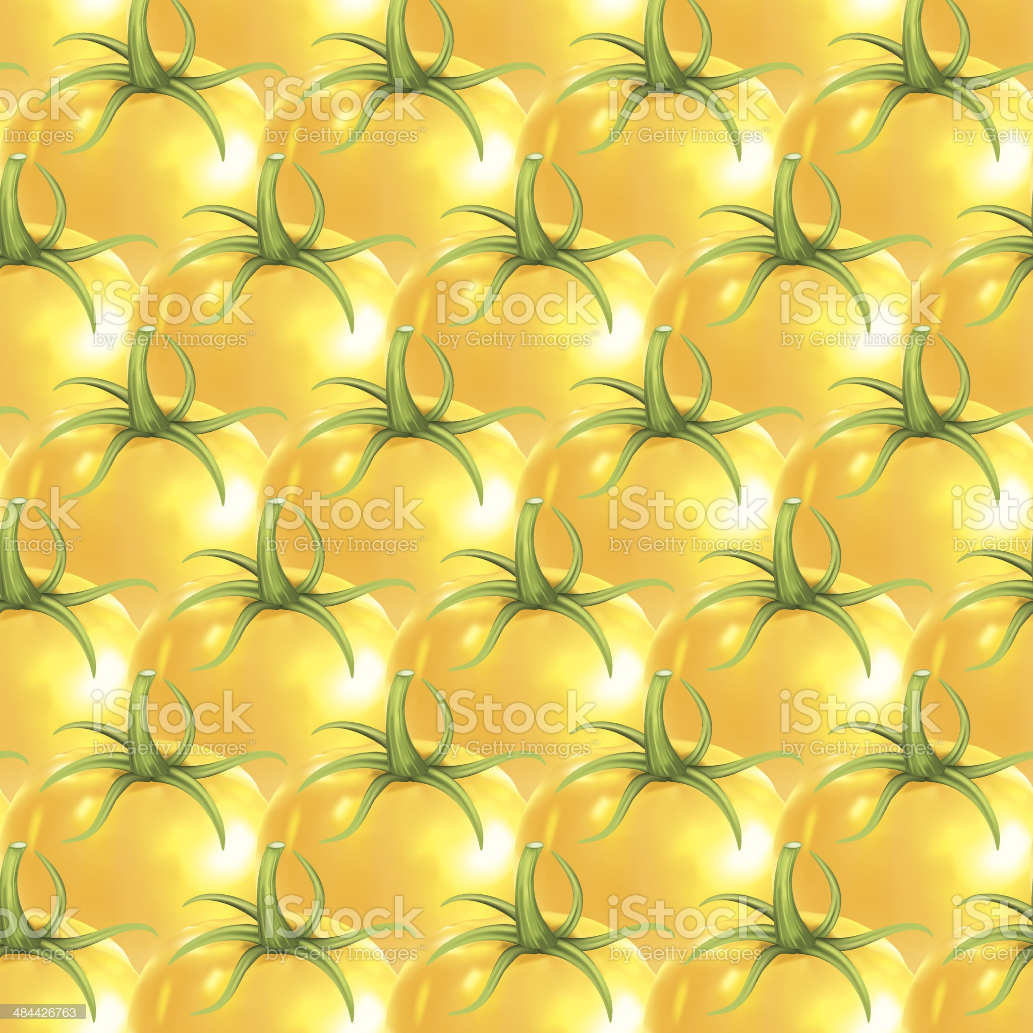 Yellow Heirloom Tomatoes Seamless Pattern royalty-free stock vector art