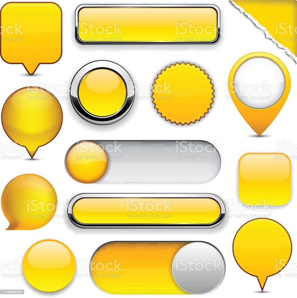 Yellow high-detailed modern buttons. vector art illustration