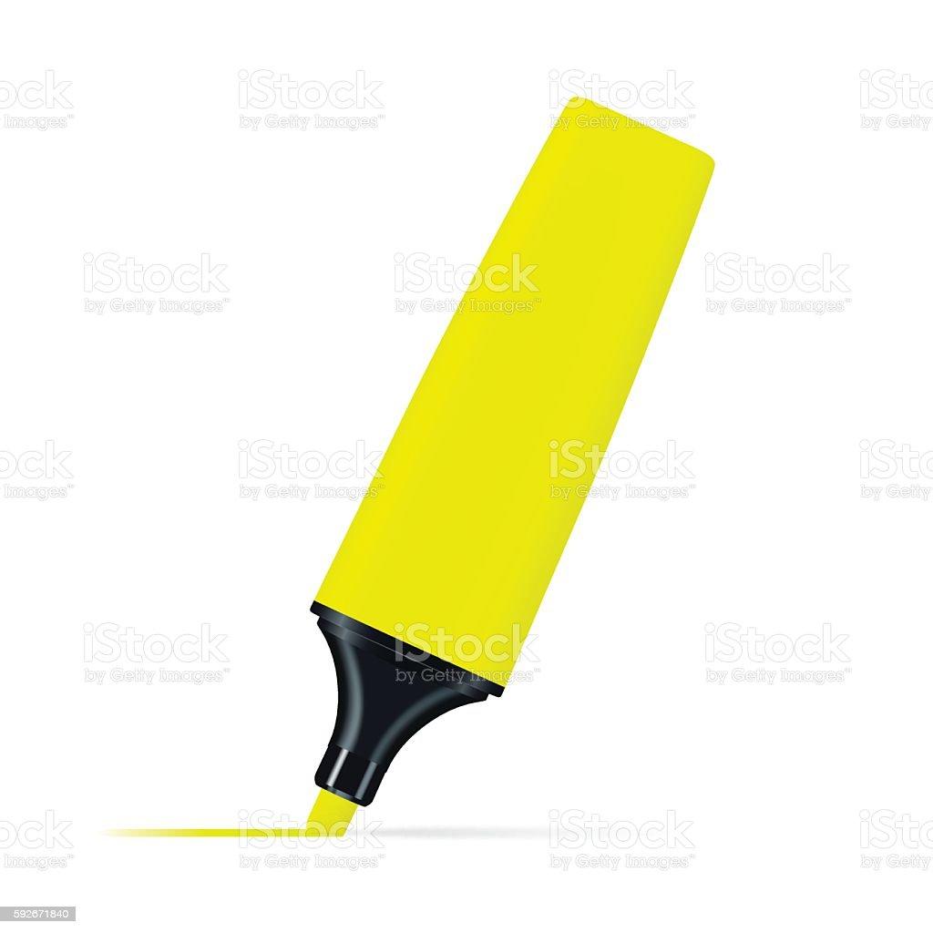 Yellow highlighter pen on white background vector art illustration