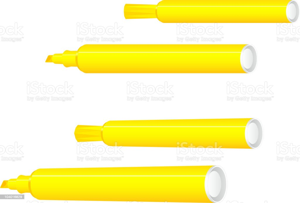 Yellow highlighters to make marks on a page royalty-free stock vector art