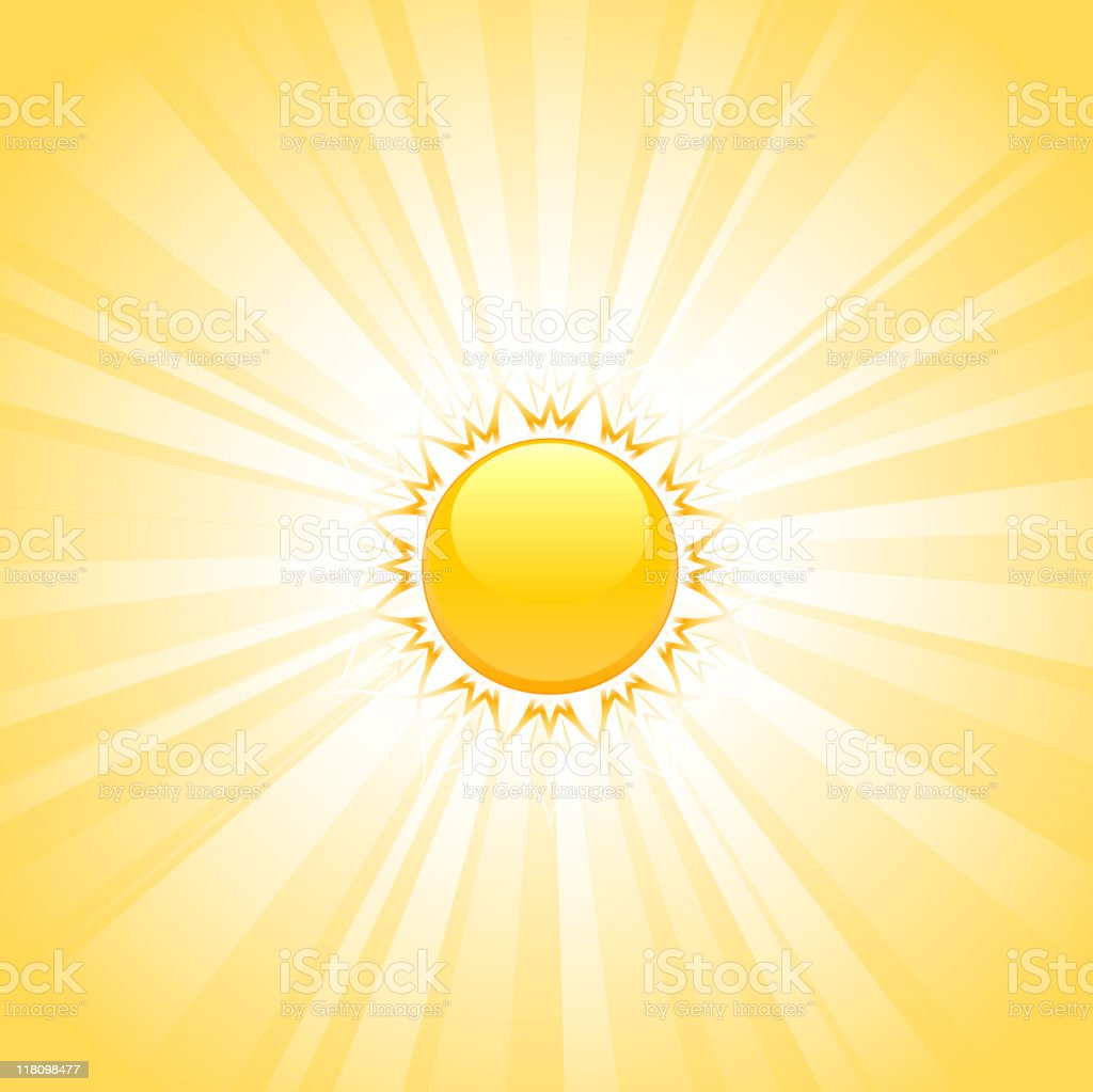 yellow illustration of sun with glowing background royalty-free stock vector art