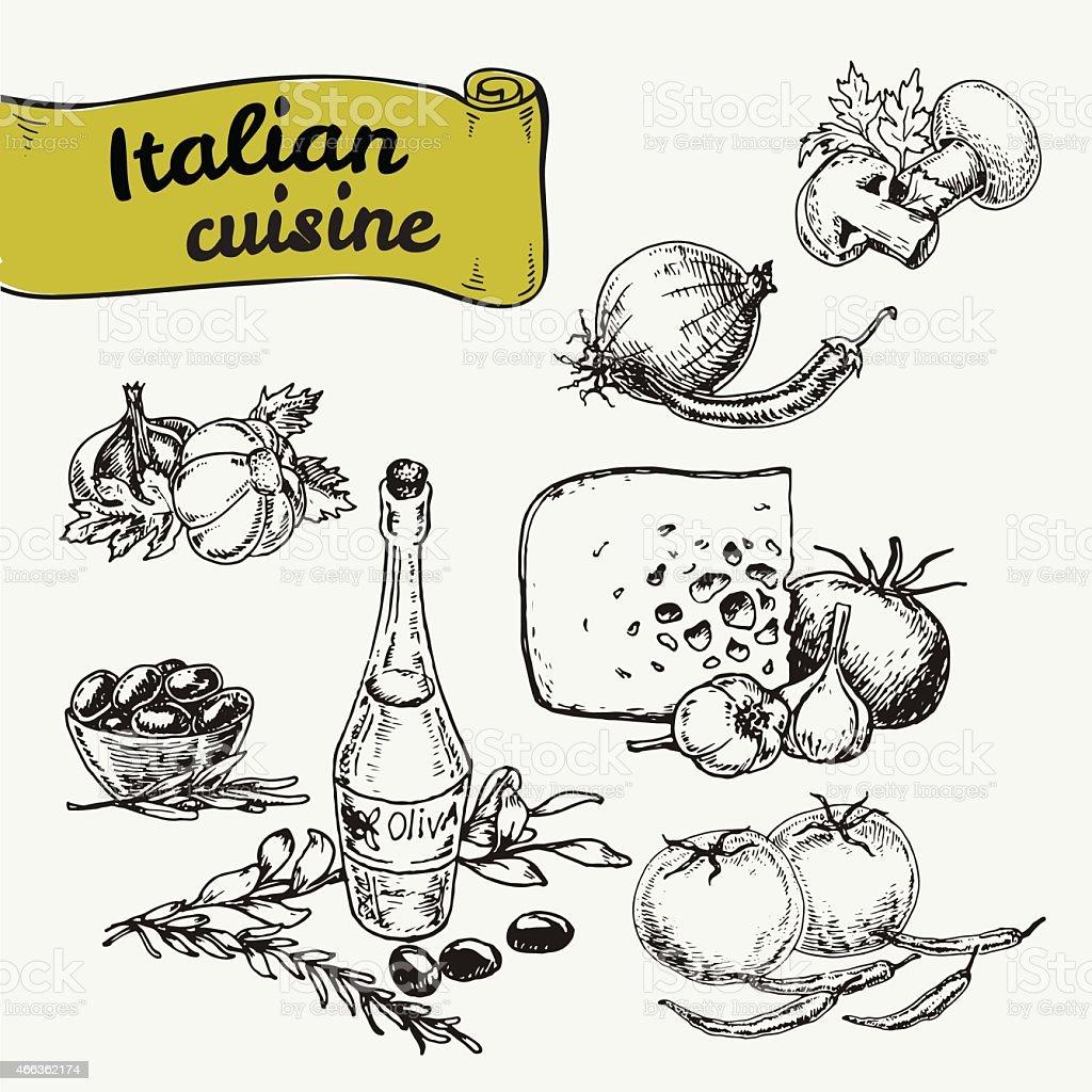 Yellow Italian food ribbon with drawn Italian food graphics vector art illustration