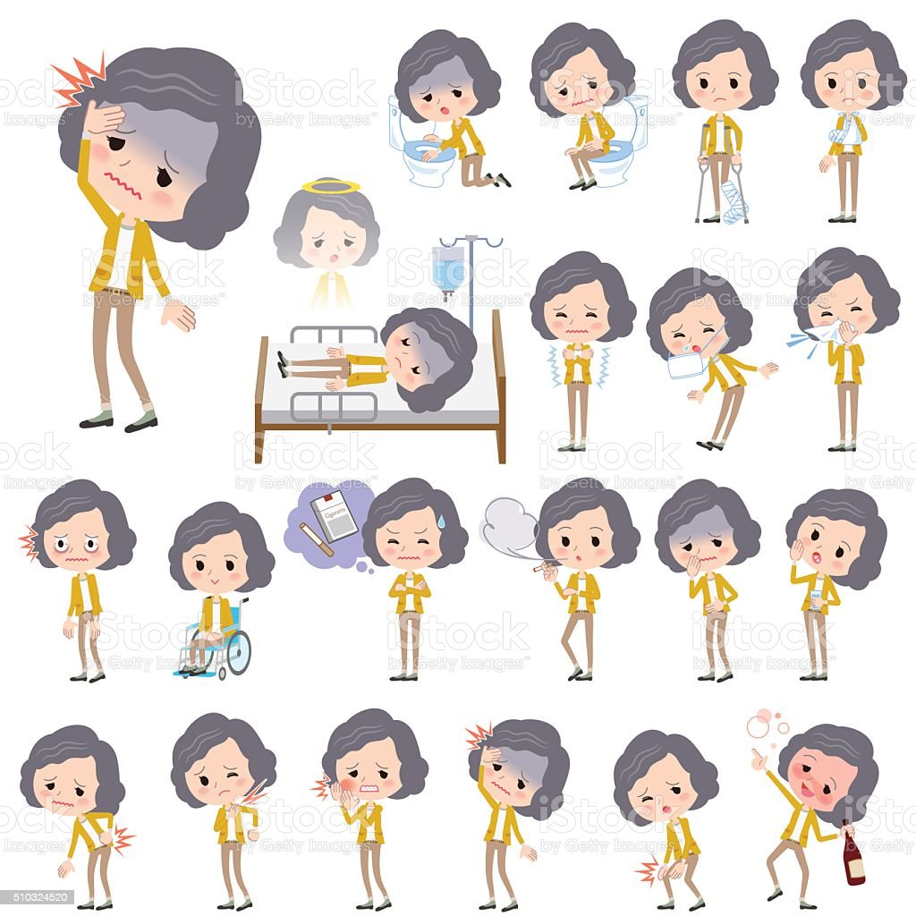 Yellow jacket Middle woman About the sickness vector art illustration