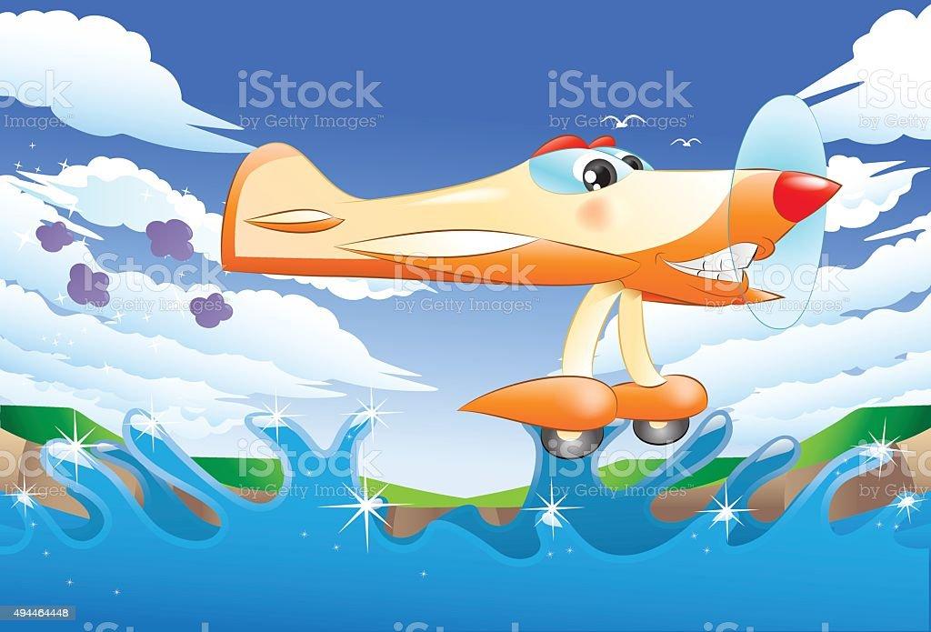 yellow jet plane flying away vector art illustration