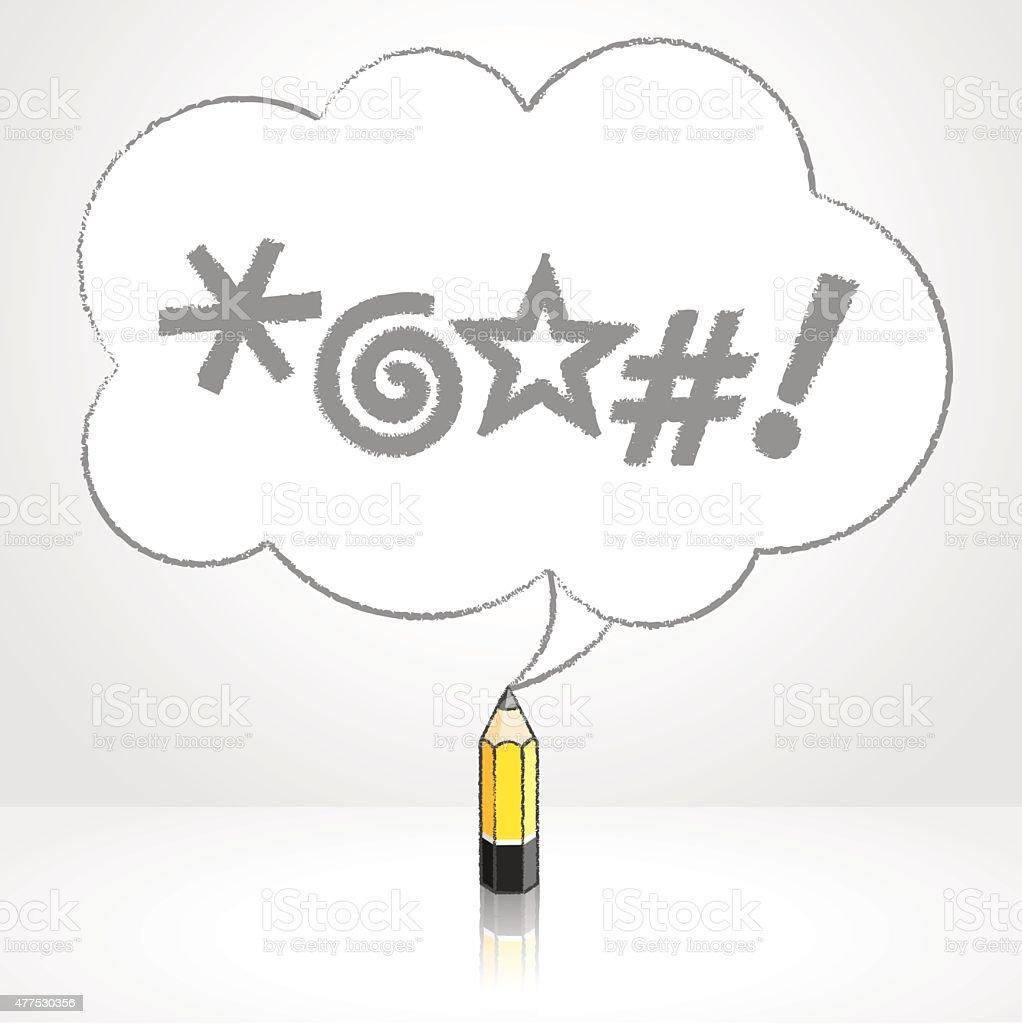 Yellow Lead Pencil Drawing Swearing Icons Fluffy Cloud Speech Ba vector art illustration