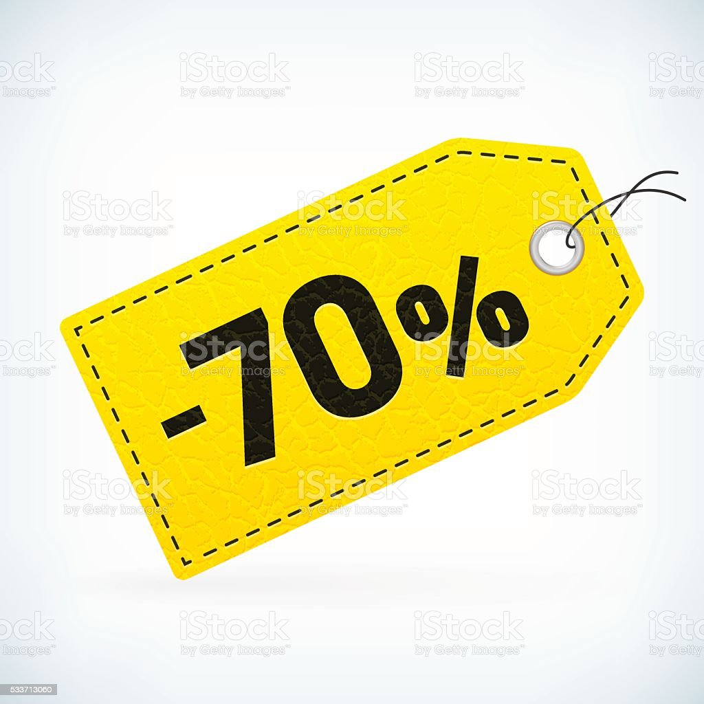 Yellow leather detailed business sale -70% price labels vector art illustration